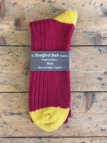 Men's Wool Socks - Claret & Amber - Machine Washable